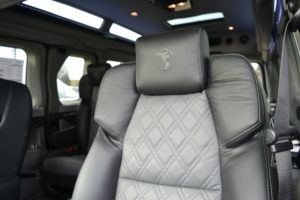 Black Leather Seats with Diamond Stitched Graphite Inserts Explorer Van Co