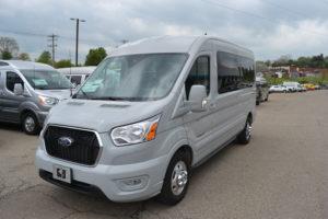 2021 Ford Transit Avalanche Gray AWD 250 MR 9 Passenger - Explorer Limited SE 1FTBR2CGXMKA34301 Mike Castrucci Conversion Van Land