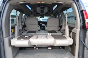 Flexible Cargo & Storage options with the Explorer Van 3-Way Power Sofa / Bed.