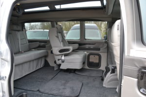 Quick release Removable Captain Chairs, Take a Large Cooler, The Family Pet or Extra Cargo Room. Explorer Van Company Conversion Van Land