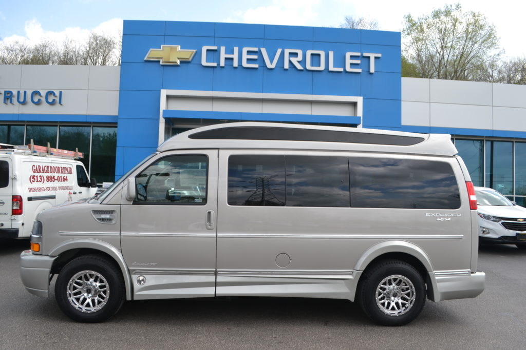 2018 4X4 Chevrolet Express Explorer Limited X-SE Silver Birch Metallic J1240941 Mike Castrucci Chevrolet Conversion Van Land