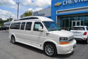 2020 White Diamond Pearl Chevrolet Express, Explorer Limited X-SE VC 9 Passenger Conversion Van
