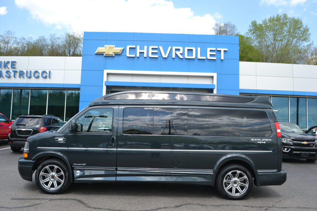2018 Chevrolet Express 4X4 Conversion Van 9 Passenger Explorer Limited X-SE J1210189 Graphite Metallic Mike Castrucci Chevrolet Conversion Van Land