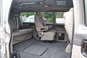 Quick release removable center captain chairs make for flexible Passenger and Cargo room