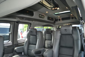 Graphite Leather Seating with Black Leather Inserts, Enjoy the Ride in Extremely Comfortable Seats from Explorer Van Company