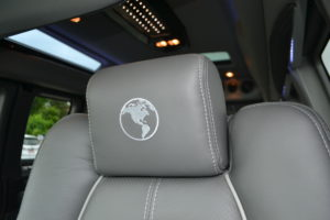 Graphite Leather Seating with Silver Stitch Explorer Van Company