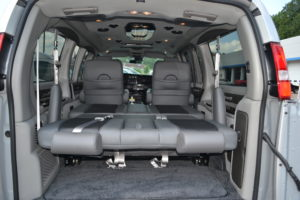 Power Rear Sofa Make into a Bed Great for a Nap or Cargo. Mike Castrucci Conversion Van Land