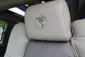 Pewter leather seating with New Graphite Inserts and Gray Stitch Explorer Van Company Legendary Comfort