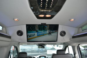 Explorer Van Company Large Flat Screen TV play Movies or Games