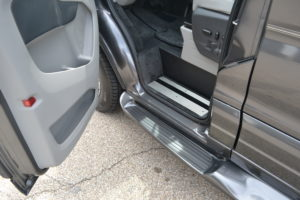Molded Fiberglass Running Boards have an Attractive and Functional Step. Easy & Comfortable. Explorer Van Company Mike Castrucci Ford Conversion Van Land