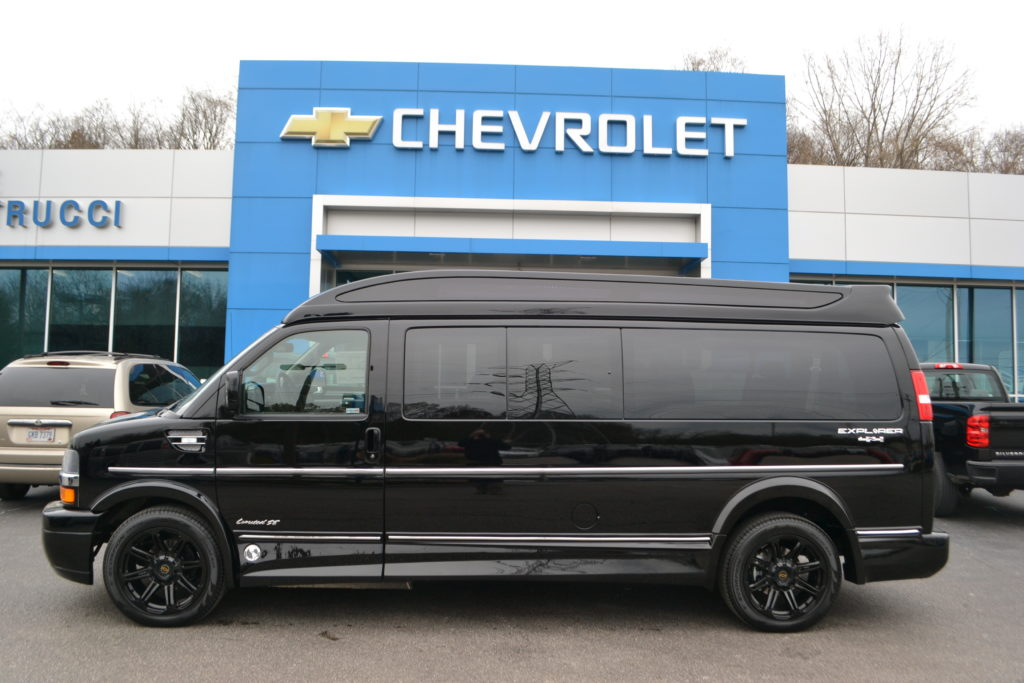 bb518c3c2241a9 2019 Chevrolet Express Explorer 9 Passenger Limited X-SE K116677 Black Mike  Castrucci Conversion Van