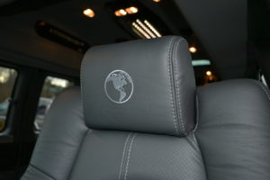Explorer Van Graphite Leather Seating with Silver Pipe & Stitch
