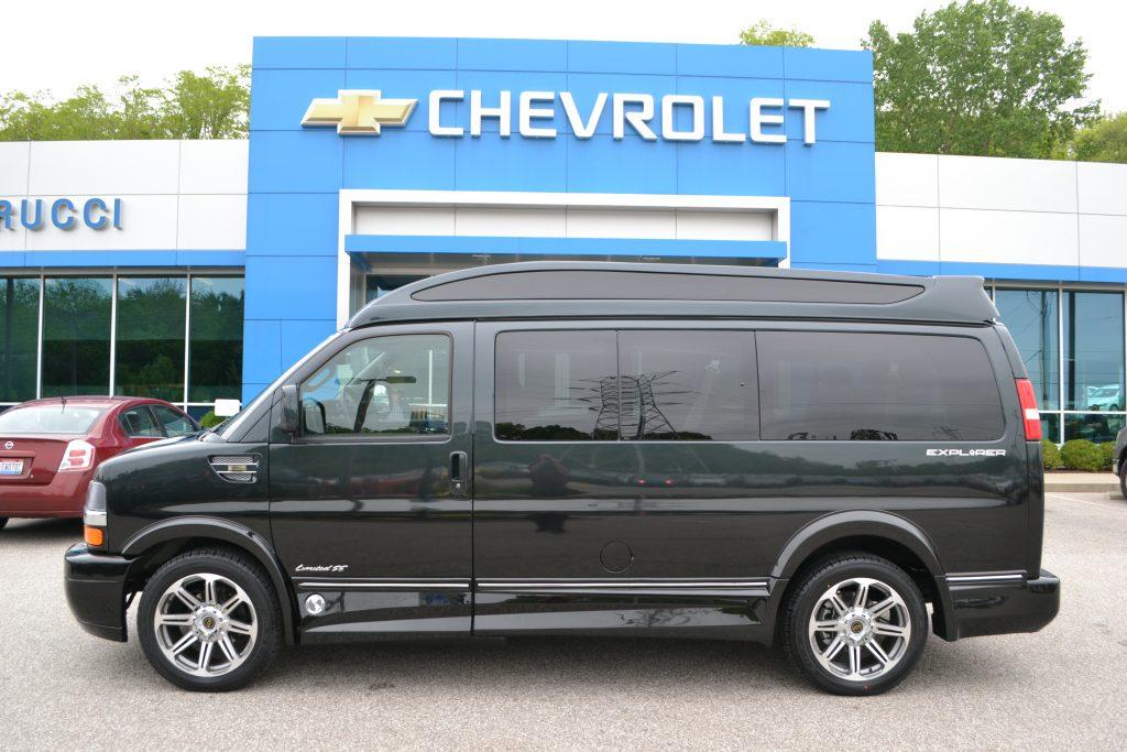 2017 Explorer Van Graphite Fade to Black Sport roof with Vista Cruiser Glass Conversion Van Land
