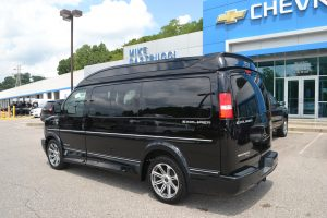 2016 Black GM Conversion Van by Explorer Van Company Driver Side and Rear View