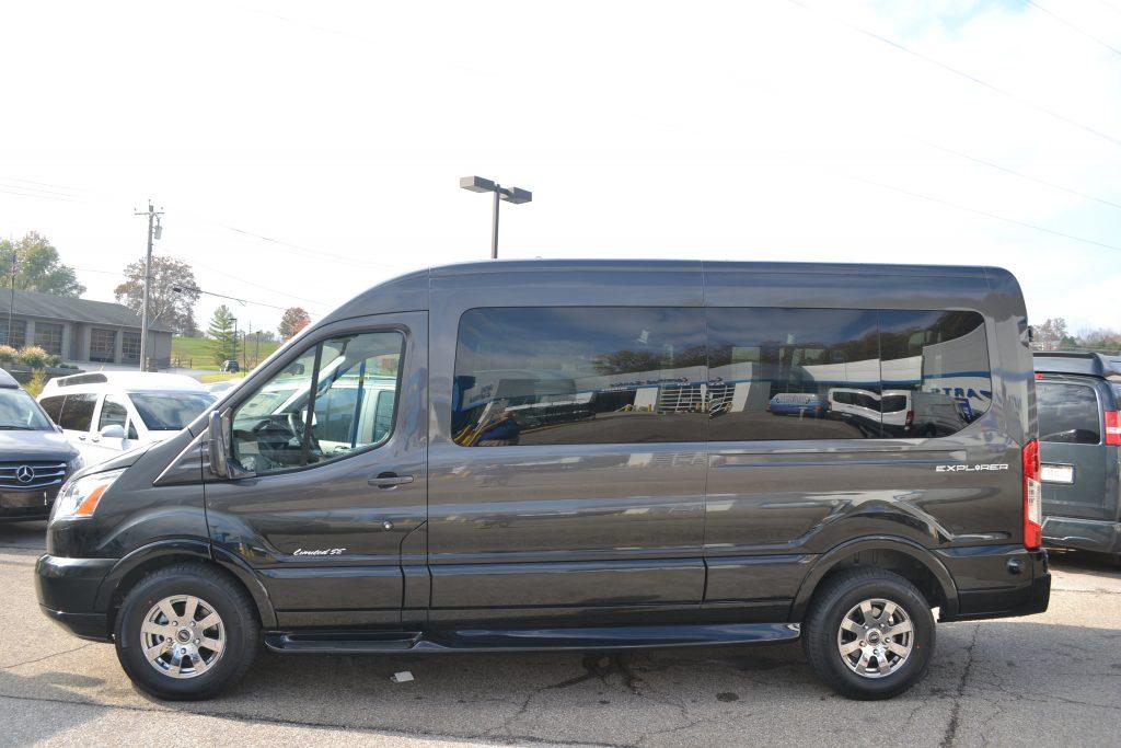 2017 Ford Transit Explorer Conversion Van Medium Roof Granite Metallic Fade To Black